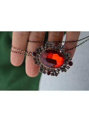 Stoneage Broş Kolye Taş Yakut Zirkon Zincir Hediye Kırmızı